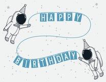 Смешные астронавты празднуют с днем рождения иллюстрация штока