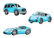 Смешные голубые автомобили Стоковые Изображения RF