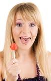 смешные детеныши женщины lollipop стоковое фото
