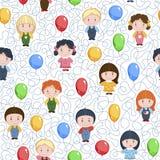 Смешные дети шаржа с воздушными шарами Безшовная картина вектора на белой предпосылке Стоковое Фото