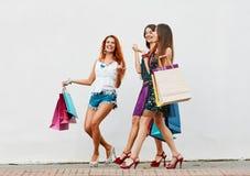 Смешные женщины с хозяйственными сумками Стоковая Фотография RF