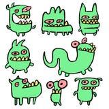 Смешные зеленые изверги также вектор иллюстрации притяжки corel Стоковые Фото