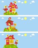Конструкция с птицами и домами бесплатная иллюстрация