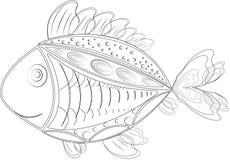 Смешные изолированные рыбы zentangle иллюстрация вектора