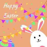 Смешные и красочные счастливые поздравительная открытка и партия пасхи с кроликом, иллюстрацией зайчика, яйцами, знаменем, флагом бесплатная иллюстрация