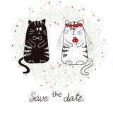 Смешные коты, жених и невеста венчание романтичного символа приглашения сердец элегантности предпосылки теплое Стоковое Изображение RF