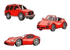 Смешные красные автомобили Стоковое фото RF