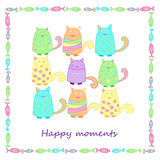 Смешные красочные коты с рыбами стоковая фотография