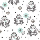 Смешные лягушки серые и голубая безшовная картина вектора бесплатная иллюстрация