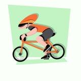 Смешные маленькие ребеята едут гонка велосипеда бесплатная иллюстрация