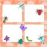 Смешные насекомые установили дизайн карточки ladybugs оси жука mantis dragonfly гусеницы бабочки паука на розовой предпосылке век Стоковое фото RF
