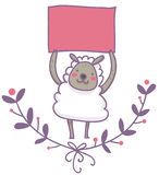 Смешные овцы с пустой иллюстрацией сигнала Стоковая Фотография