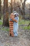 Смешные пары в костюмах кота и собаки влюбленности нося Стоковое Изображение