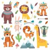 Смешные племенные животные Животное младенца полесья, милая дикая лиса леса и вектор мультфильма tribals джунглей изолированный з бесплатная иллюстрация