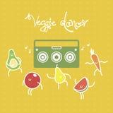 Смешные плодоовощи и vagetables шаржа танцуя к музыке от коробки заграждения также вектор иллюстрации притяжки corel Стоковые Изображения