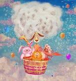 Смешные дружелюбные животные в воздушном шаре в небе Стоковая Фотография RF