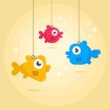 Смешные рыбы на веревочке Стоковые Изображения