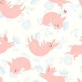 смешные свиньи картина безшовная Стоковое фото RF