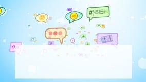 Смешные социальные пузыри витая на экране иллюстрация штока