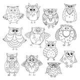Смешные сычи и молодые символы эскиза owlets иллюстрация вектора
