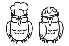 Смешные сычи: сыч-кран и сыч-работник Бесплатная Иллюстрация