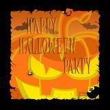 Смешные тыквы хеллоуина, летучие мыши, страшные пауки и текст Ретро стиль шаржа на предпосылке градиента также вектор иллюстрации иллюстрация штока