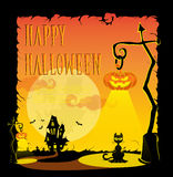 Смешные тыквы хеллоуина, летучие мыши, страшные пауки и текст Ретро стиль шаржа на предпосылке градиента также вектор иллюстрации Стоковое Изображение