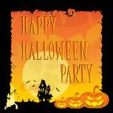 Смешные тыквы хеллоуина, летучие мыши, страшные пауки и текст Ретро стиль шаржа на предпосылке градиента также вектор иллюстрации Стоковые Фотографии RF