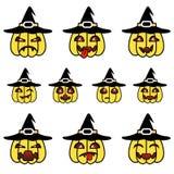 Смешные тыквы шаржа установленные с шляпой ведьмы Стоковое Изображение RF