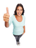 Смешные усмехаясь современные большие пальцы руки поднимают женщину Стоковые Изображения RF