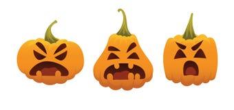 Смешные усмехаясь тыквы хеллоуина Vector иллюстрация символа хеллоуина в различных формах на белой предпосылке кругло бесплатная иллюстрация