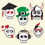 смешные усмешки черепов Иллюстрация вектора