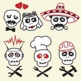 смешные усмешки черепов Иллюстрация штока
