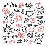 Смешные установленные стрелки, пузыри и круги шаржа вычерченный вектор руки бесплатная иллюстрация