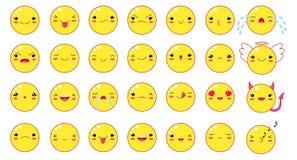 Смешные установленные smileys смайлика стиля kawaii Стоковое фото RF