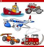 Смешные установленные корабли и автомобили шаржа Стоковое Изображение