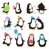 Смешные характеры вектора пингвинов рождества Стоковая Фотография RF