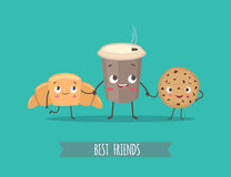 Смешные характеры круассан, печенья с шоколадом и чашка co Стоковые Изображения RF