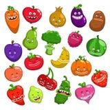 Смешные характеры фруктов и овощей шаржа бесплатная иллюстрация