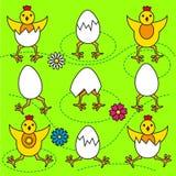 Смешные цыпленоки и яичка пасхи установили иллюстрацию Стоковое фото RF