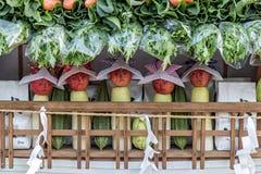 Смешные яблоки как куклы стоят в таблице Стоковое Изображение RF