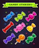 Смешные яркие установленные стикеры конфеты Стоковые Изображения