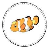 Смешные clownfish изолированные на белой предпосылке Иллюстрация шаржа клоуна рыб коралла иллюстрация вектора