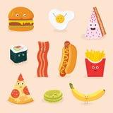 Смешными иллюстрация вектора еды изолированная персонажами из мультфильма Стоковые Фотографии RF