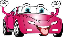 Смешным покрашенный пинком автомобиль шаржа бесплатная иллюстрация