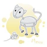 2 смешных животн-роботы, кот и мыши Стоковые Фотографии RF