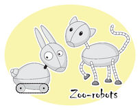 2 смешных зоопарк-роботы, кот и кролика Стоковые Изображения RF