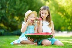 2 смешных маленьких сестры есть арбуз с ложками outdoors на теплый и солнечный летний день Здоровые натуральные продукты для дете стоковые фотографии rf
