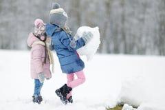2 смешных прелестных маленьких сестры в парке зимы Стоковые Изображения RF
