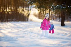 2 смешных прелестных маленьких сестры имея потеху совместно в красивом парке зимы Стоковые Изображения RF
